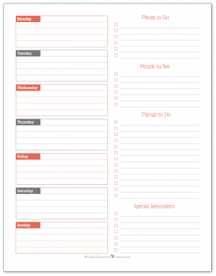 Summer Orange - weekly overview planner printable
