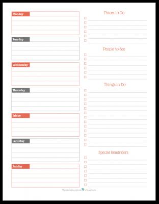 Summer Orange - weekly overview planner printable