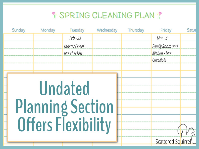 Springing cleaning planning section in use