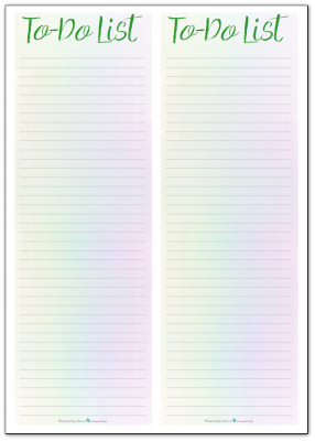 This note pad or list printable features a pale rainbow background. Pretty but not too distracting