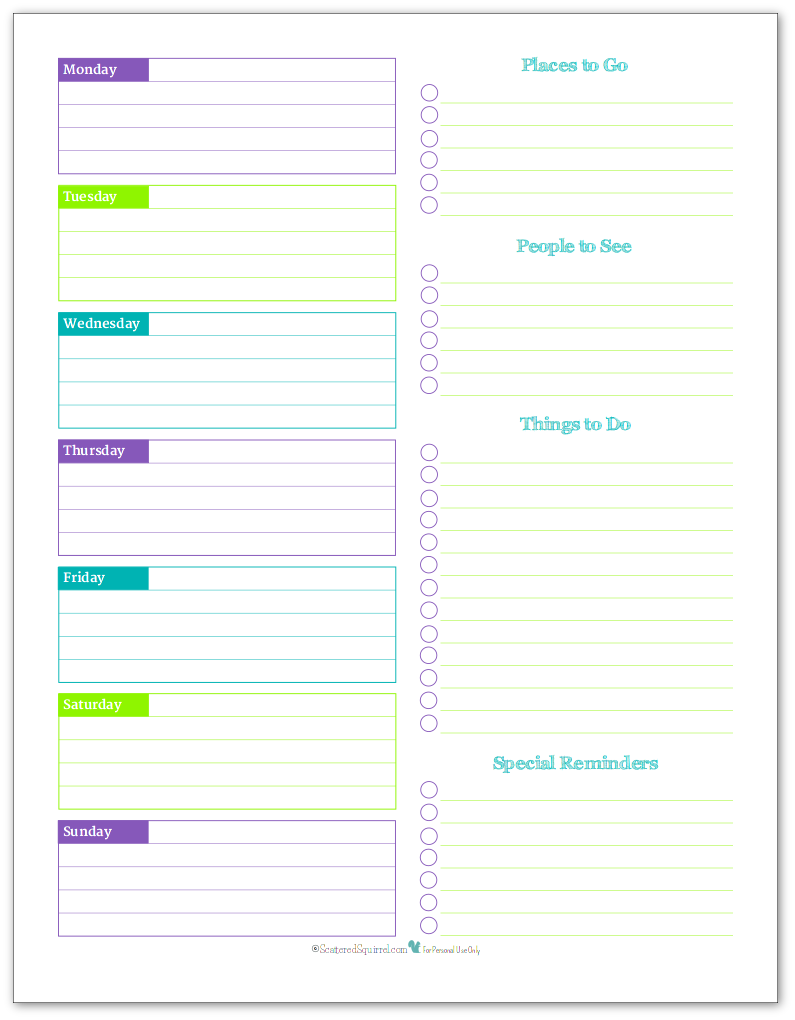 Weekly Overview Planner Printable