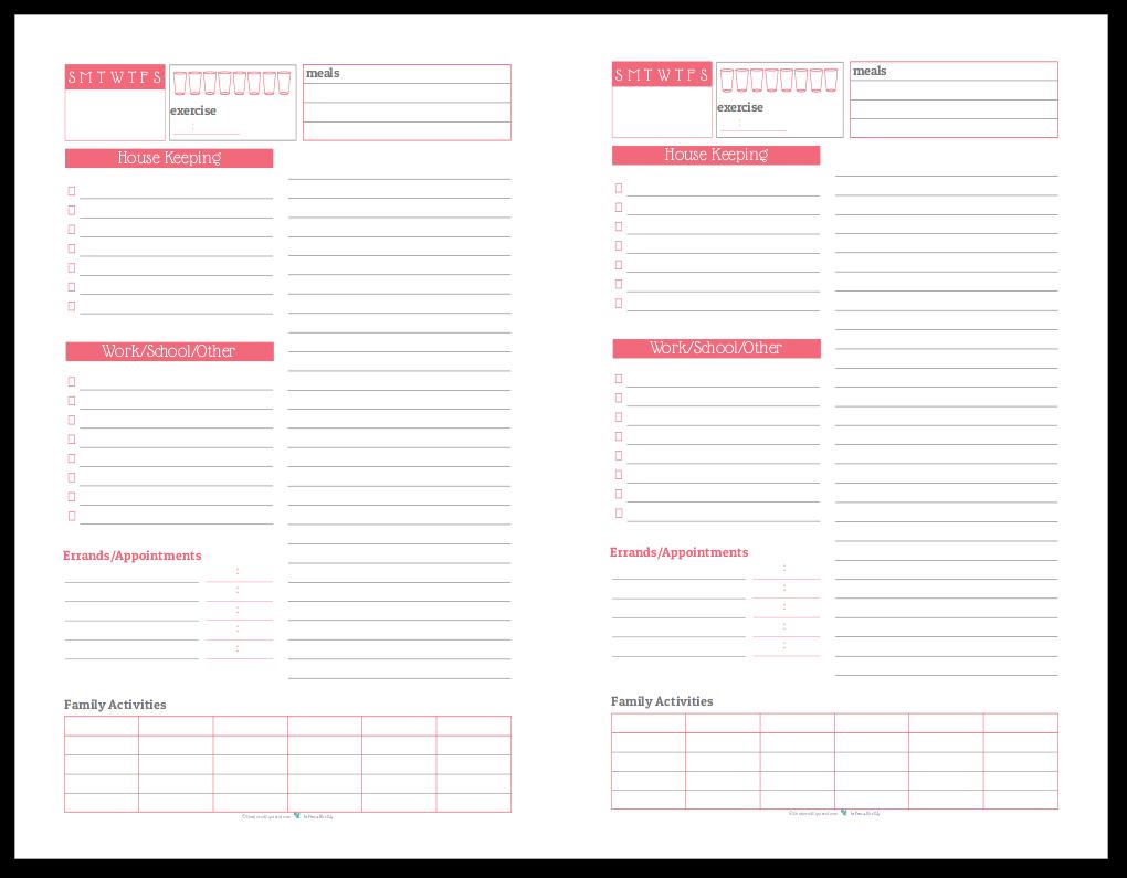 Half-Size Daily Task List Planner in Blush