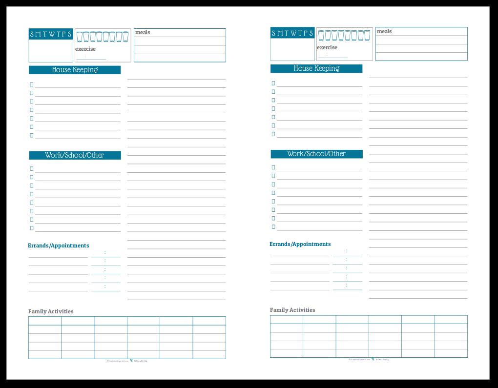 Half-Size Daily Task List Planner in Cobalt