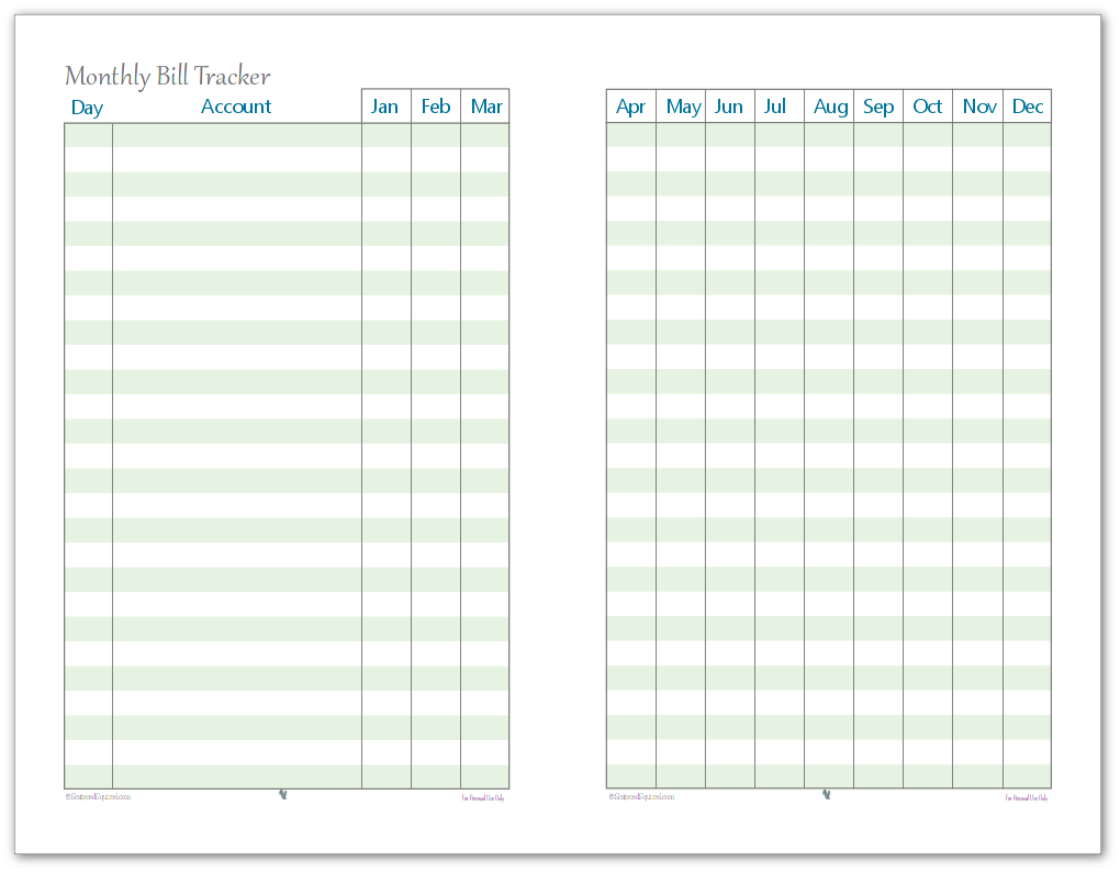 Keep up to date on which bills you've paid each month with this handy half-size monthly bill payment tracker.