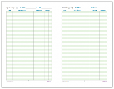 Stay on top of your spending with this handy half-size spending log printable.