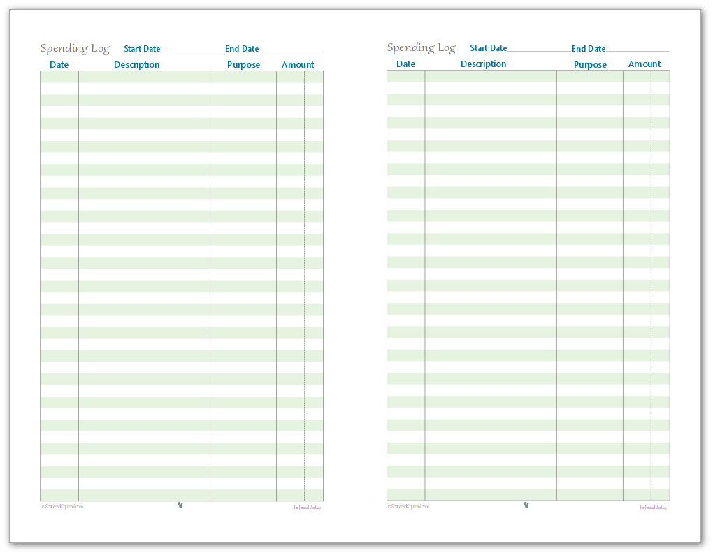 This is an image of Peaceful Spending Log Printable