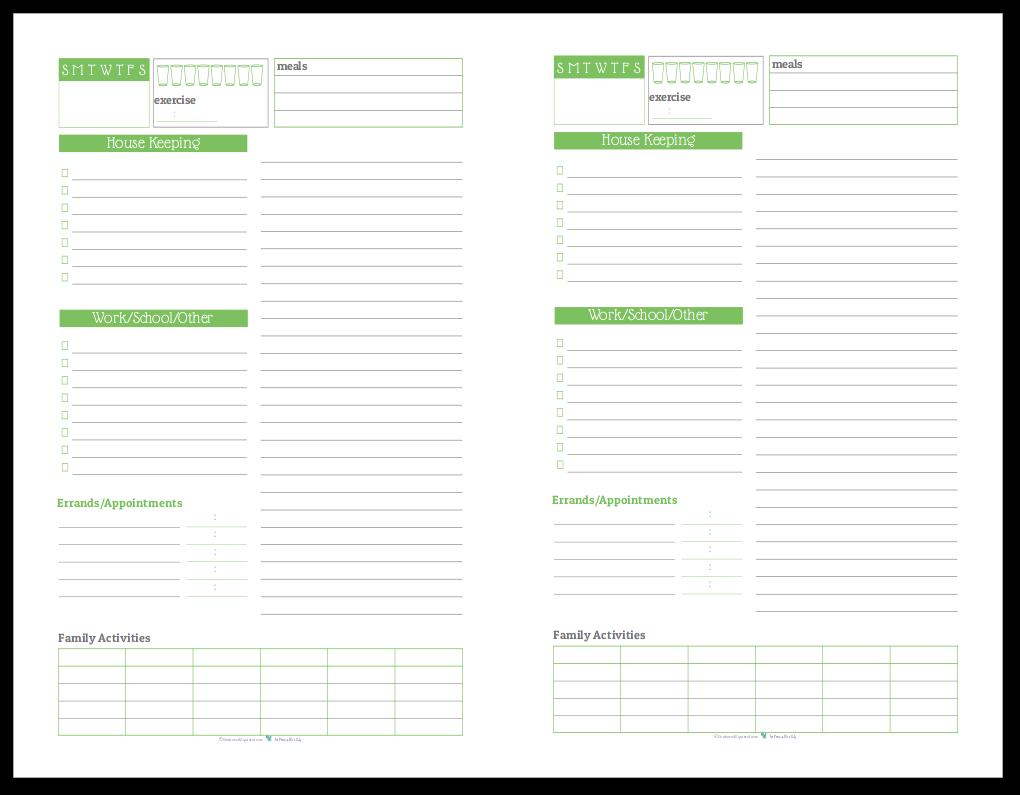 Half-Size Daily Task List Planner in Spring Grass