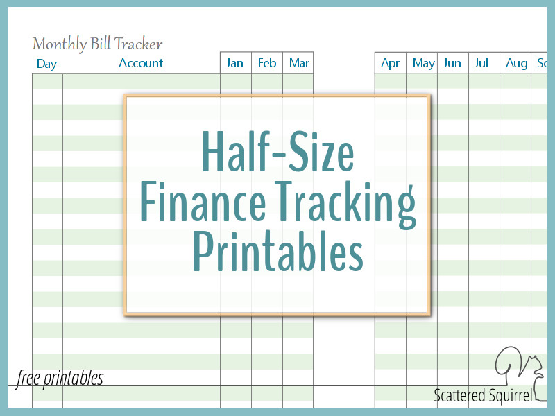 A collection of half-size finance printables, including debt payment tracker, spending log, savings tracker. and monthly bill tracker