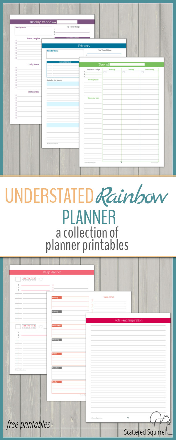 Simple, ink friendly, colourful planner printables designed to match the 2016 calendars.