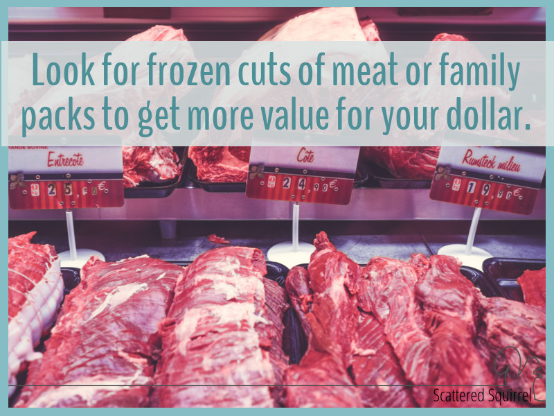 Buying frozen cuts of meat or family packs is one way to save a little on your grocery bill.