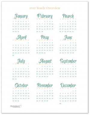 2017 Yearly Calendar Printable in full size (US Letter)