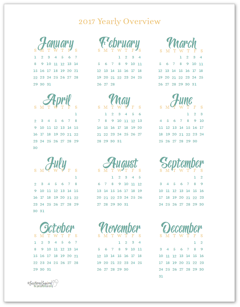 2017 year at a glance scattered squirrel for Year at a glance template for teachers