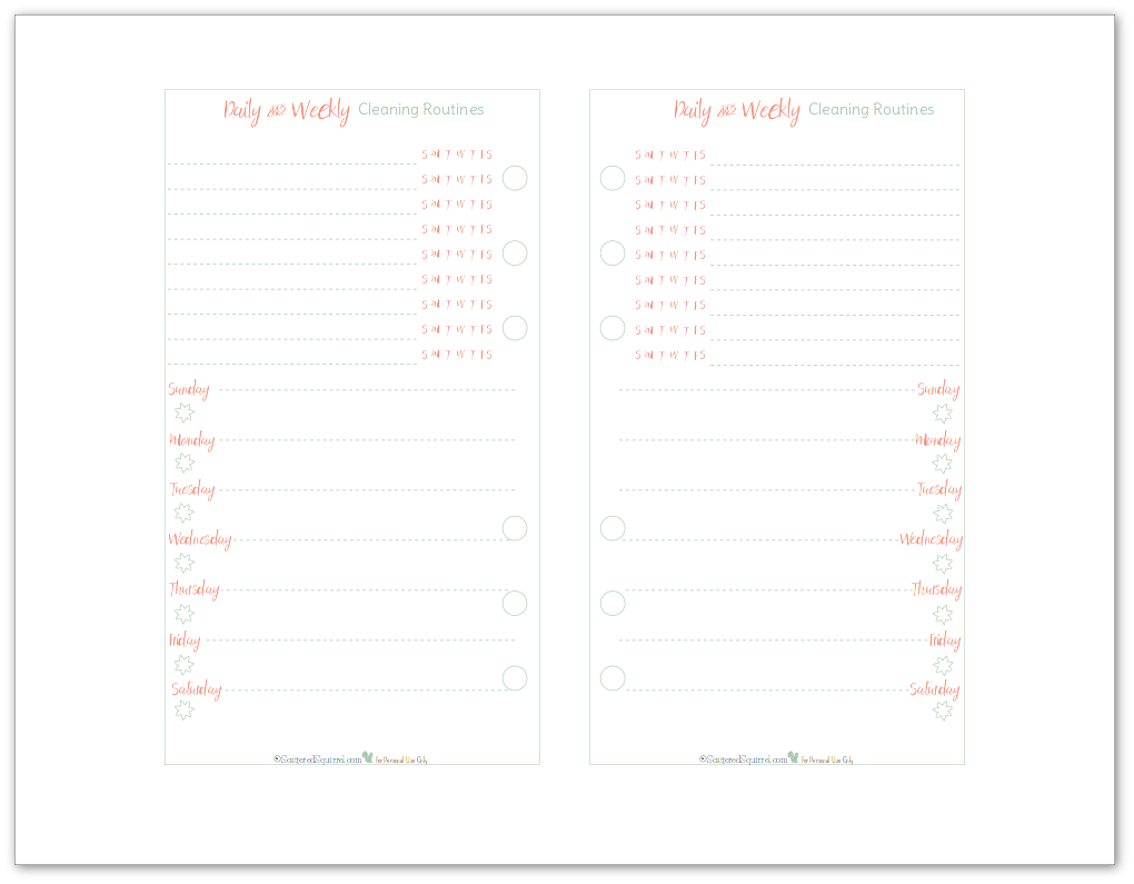 Personal Size Cleaning Schedule Planner Printable in mint and coral. Perfect for those personal size planners