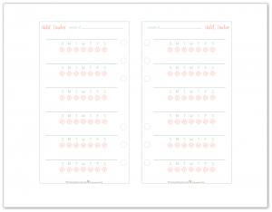 Personal Size Habit Tracker Planner Printable in coral and mint. Perfect for those personal size planners