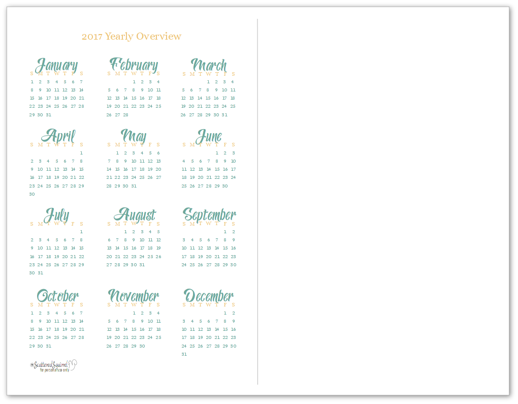 Half-Size 2017 Yearly Calendar Printable