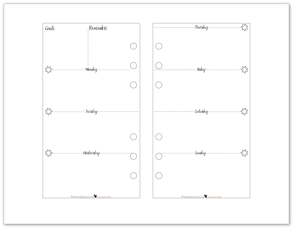 Personal Size Weekly Planner Printable in black and white. Perfect for those personal size planners