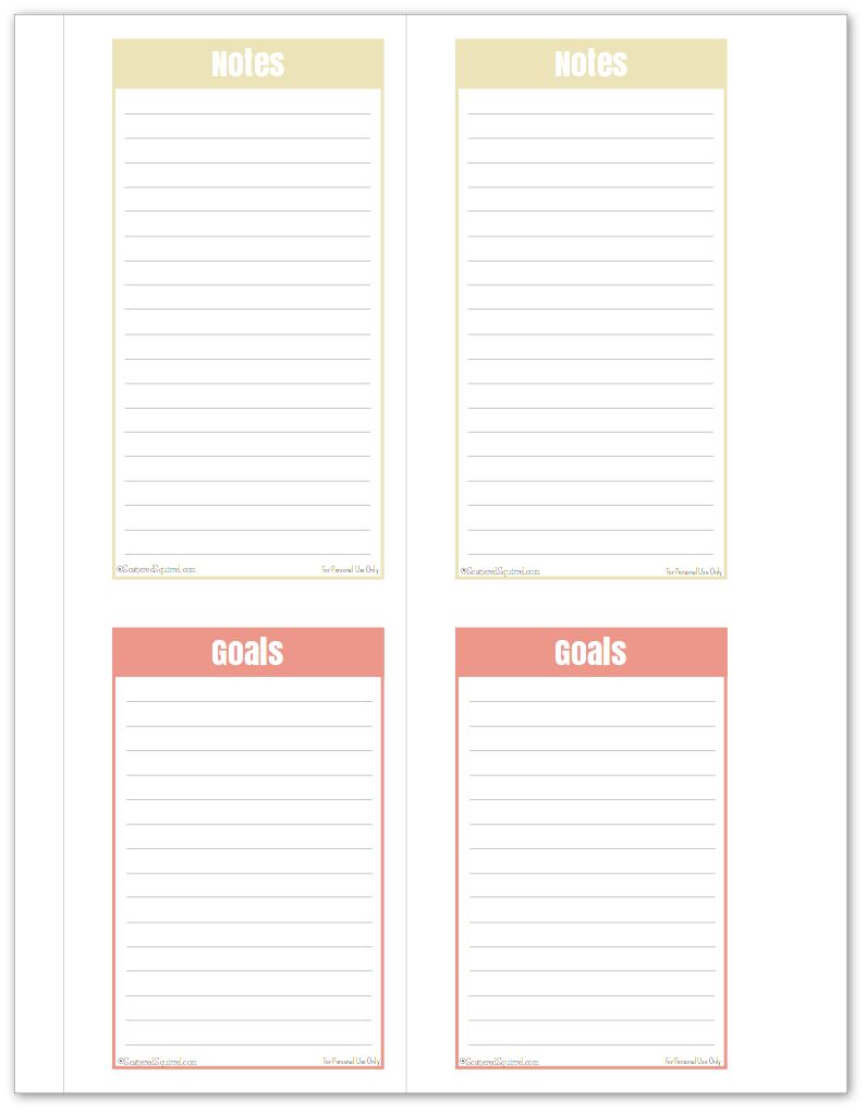 notes and goalst