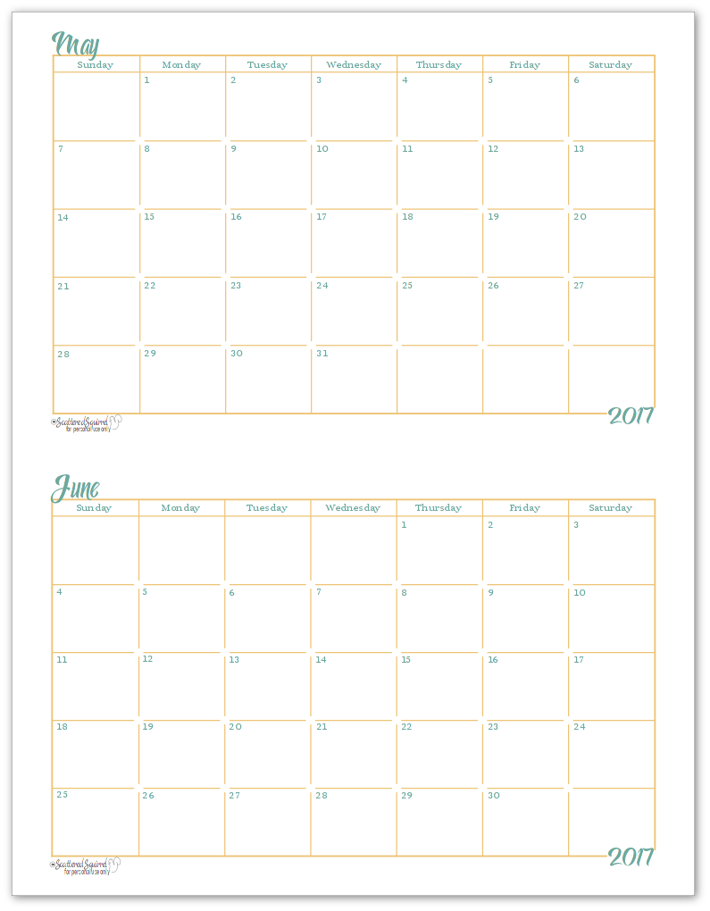 May and June 2017 Half-Size Monthly Calendar Printable Example of single month per page.