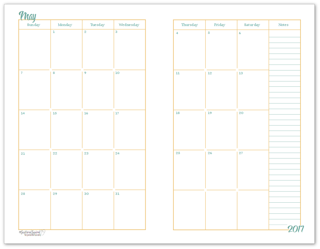 2017 half size monthly calendar printables for Double month calendar template