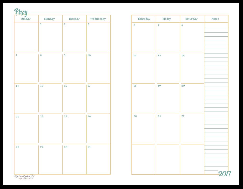 Monthly Calendar Half Page : Half size monthly calendar printables