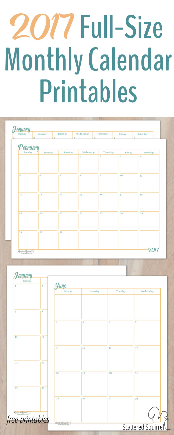 These 2017 Dated Monthly Calendar printables will come in handy if you ...