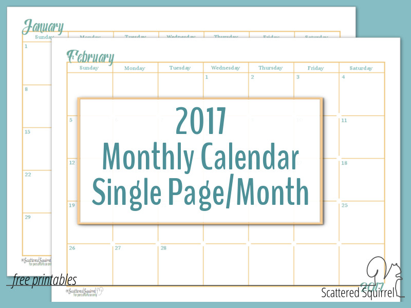 2017 Dated Monthly Calendar printable - each month is a single page, great for quickly planning out your month