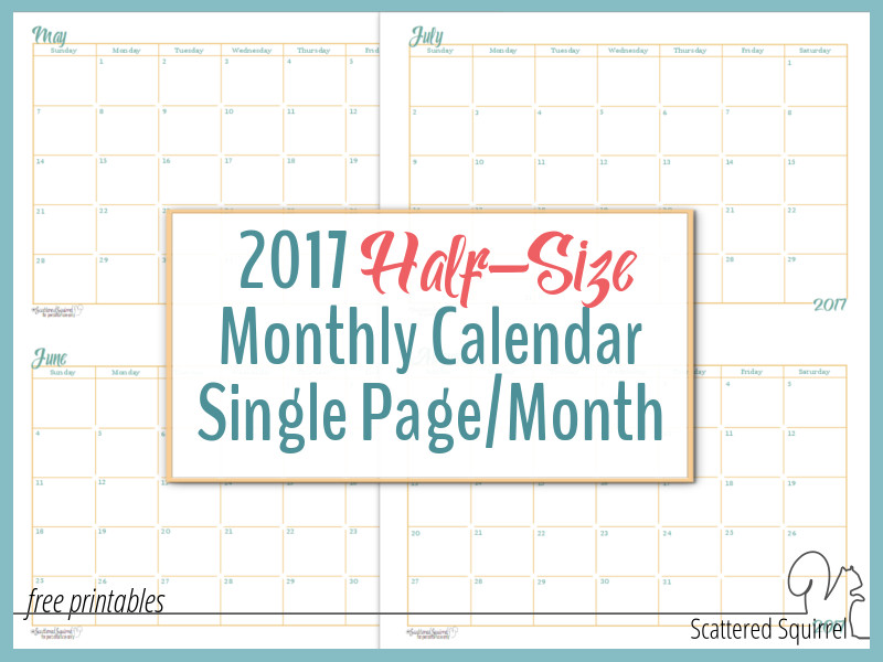 2017 half-size Monthly Calendar printable - each month is a single page, great for quickly planning out your month. These print 2 months per US Letter size sheet of paper, cut page in half to create two separate sheets.