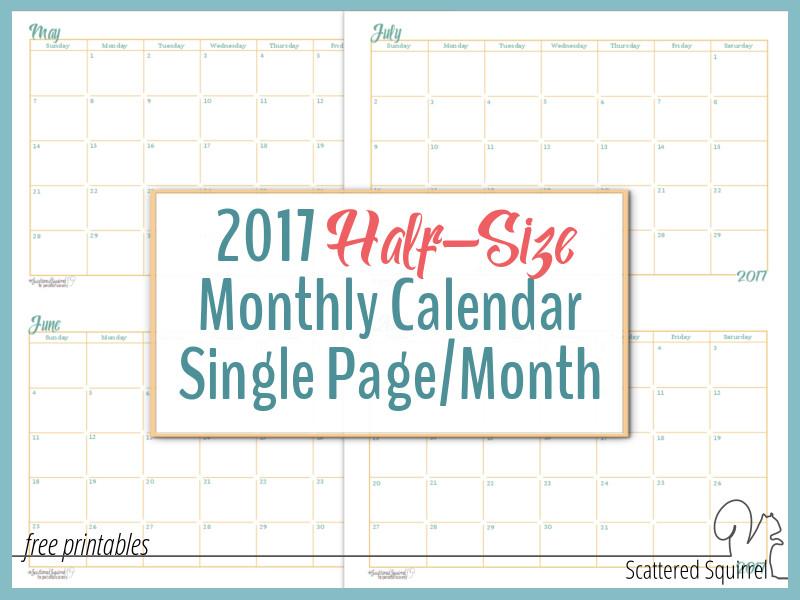 Half Page Monthly Calendar : Half size monthly calendar printables