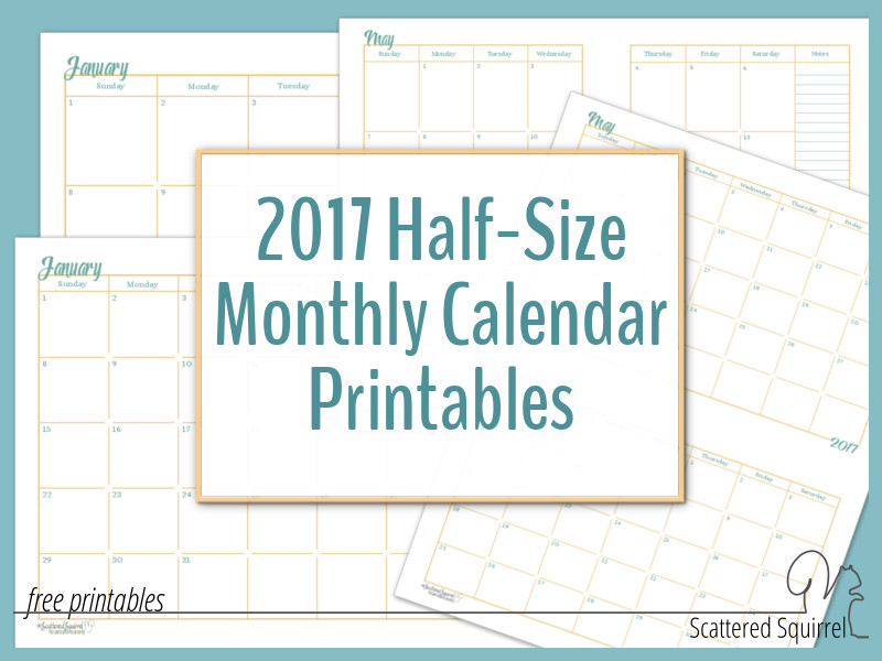 The 2017 Half-Size Monthly Calendar printables are a wonderful ...