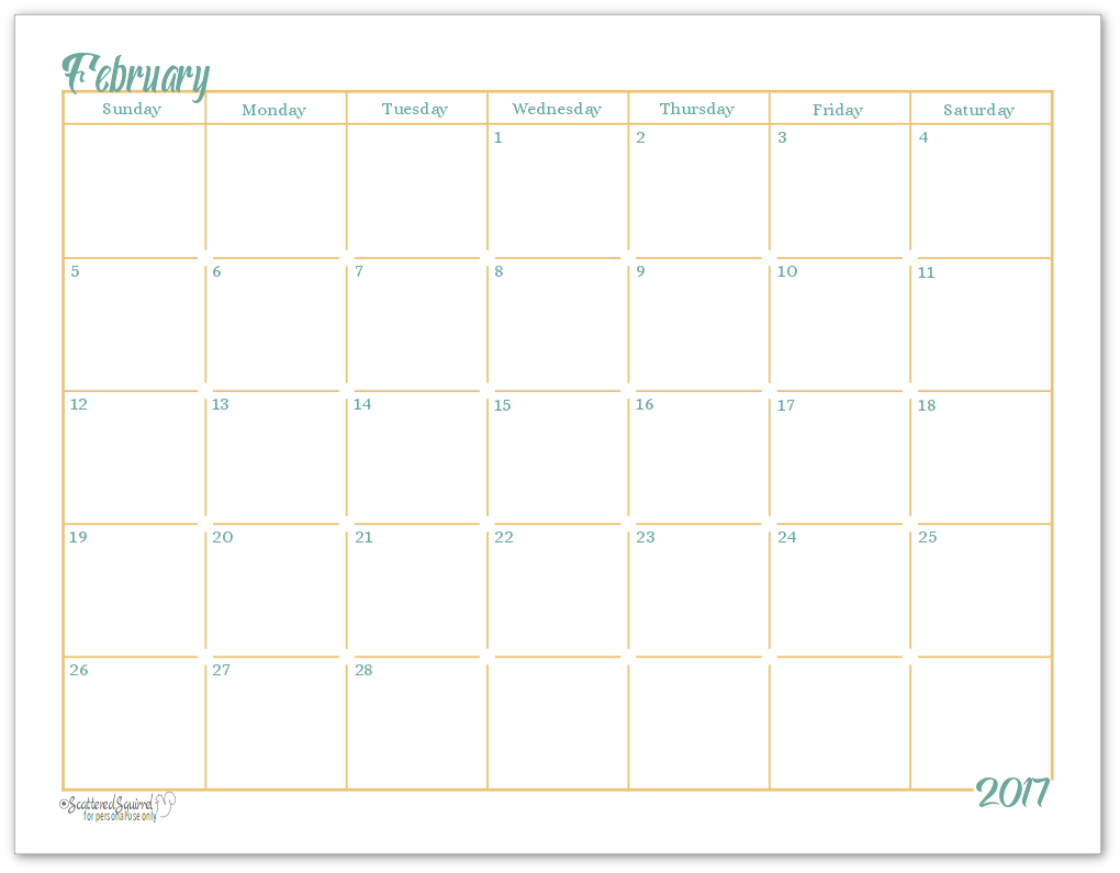 The single page per month calendar printable