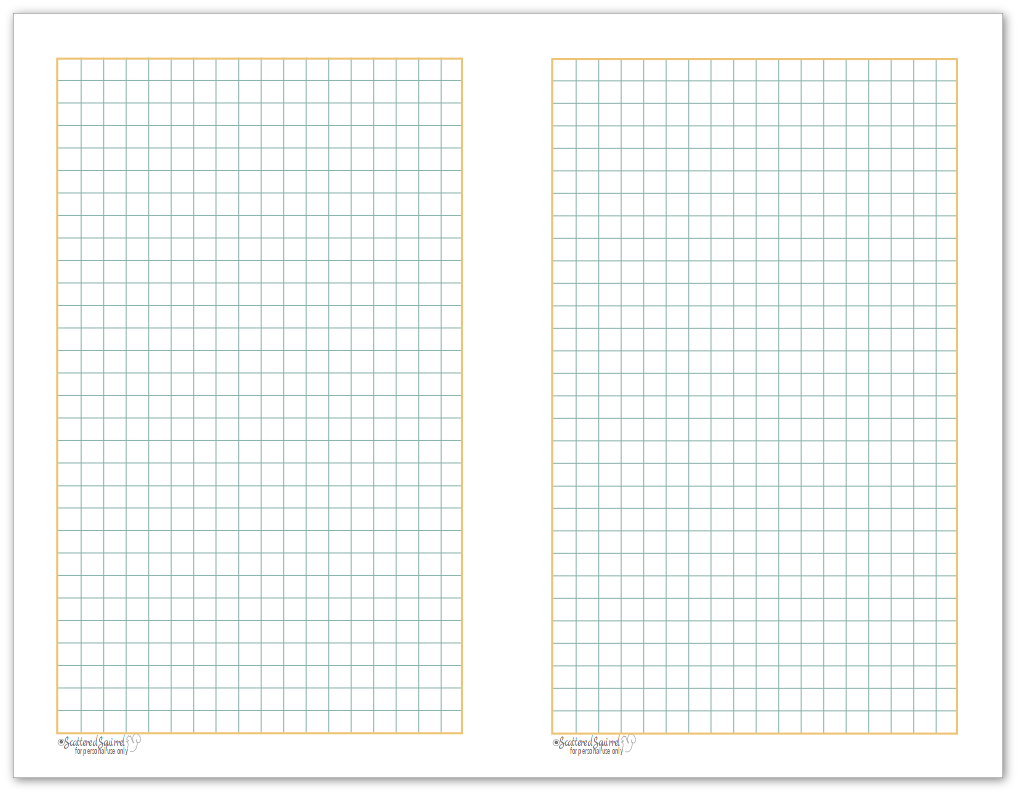 Graph paper printable with colours to match the 2017 monthly calendars