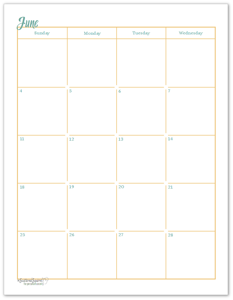 Page 1 of the two page monthly calendar pritnables