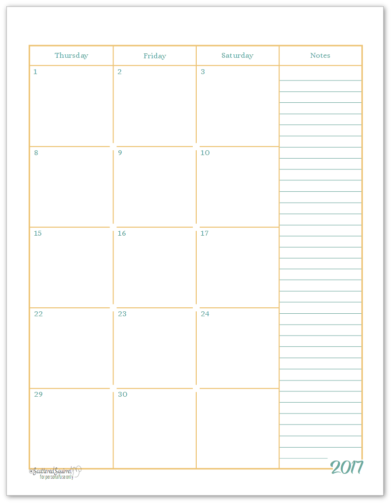 Page 2 of the two page monthly calendars