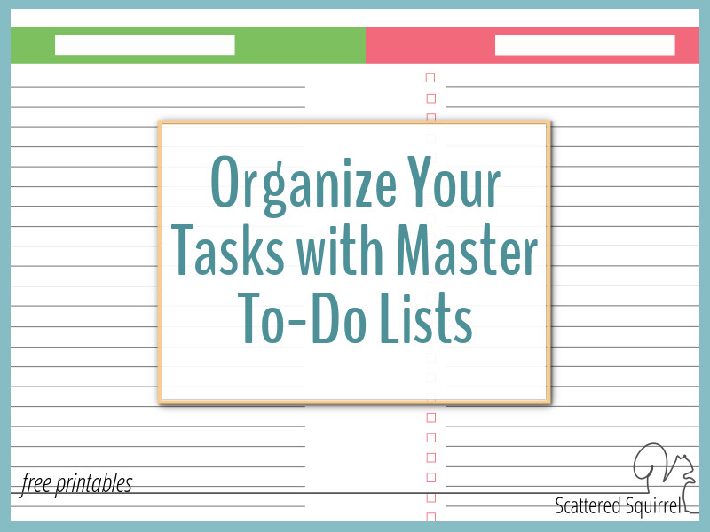 Take your to-do lists on the go with you with our half-size and personal size master to-do list printables.