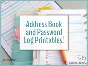 Planner Additions – Colourful Address Book and Password Log Printables