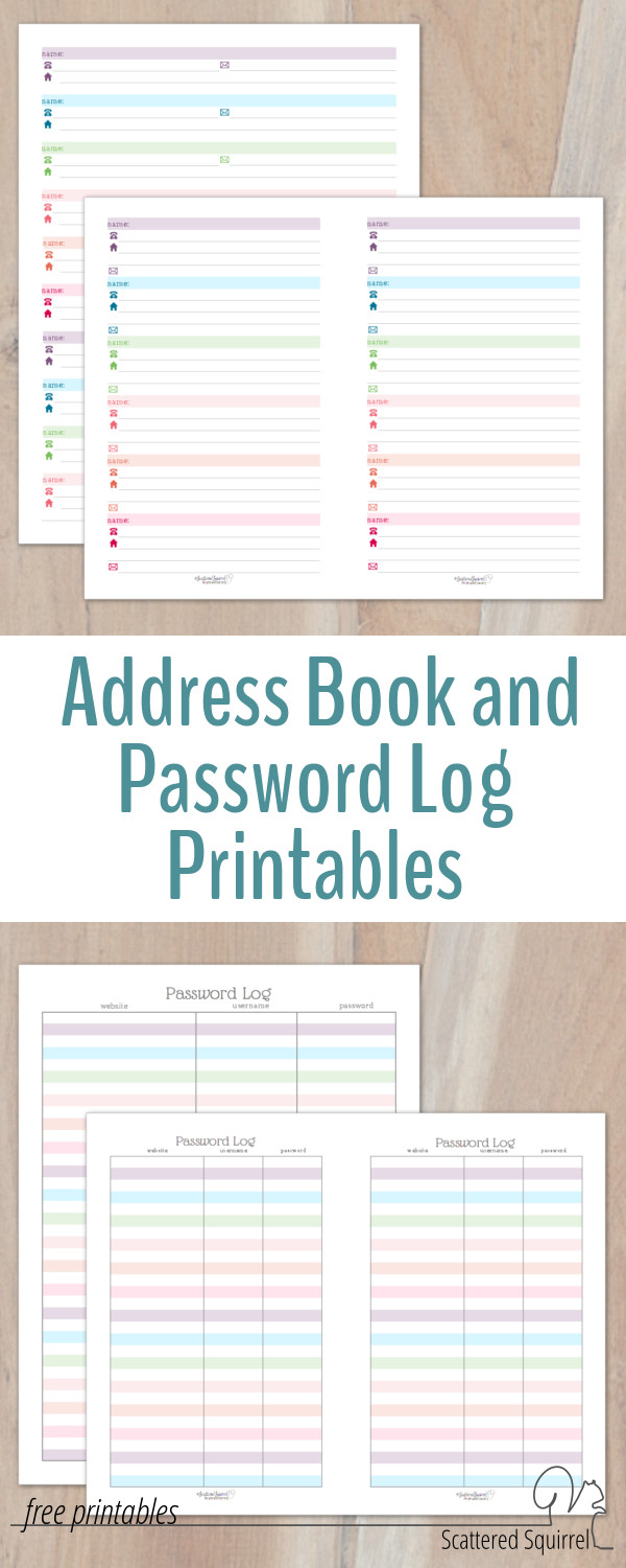 A great addition to a planner or home management binder - these address book and password log printables come in two sizes and colourful without being too distracting,
