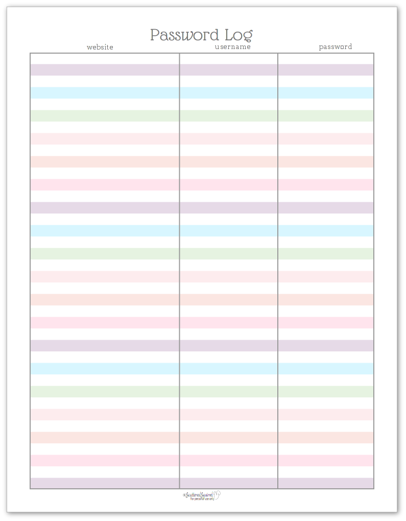 Password Log printable - prints on US Letter (8.5 x 11 inches)