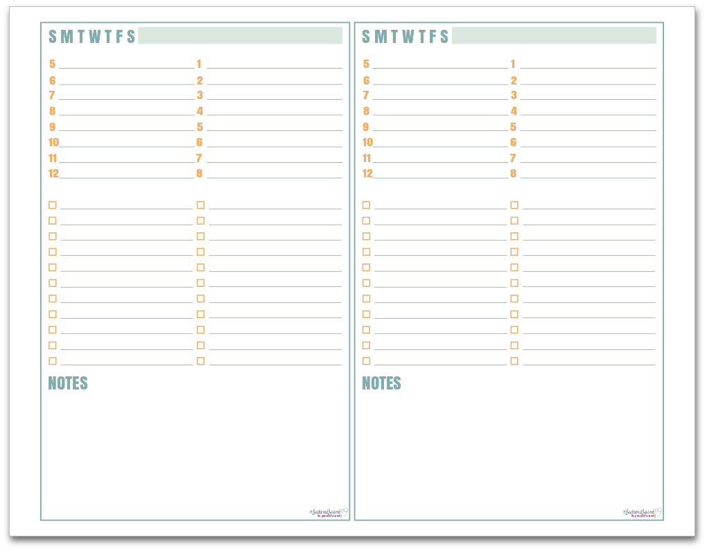 Daily Planner Half-Size