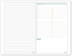 Graph paper and Daily Planner in half-size