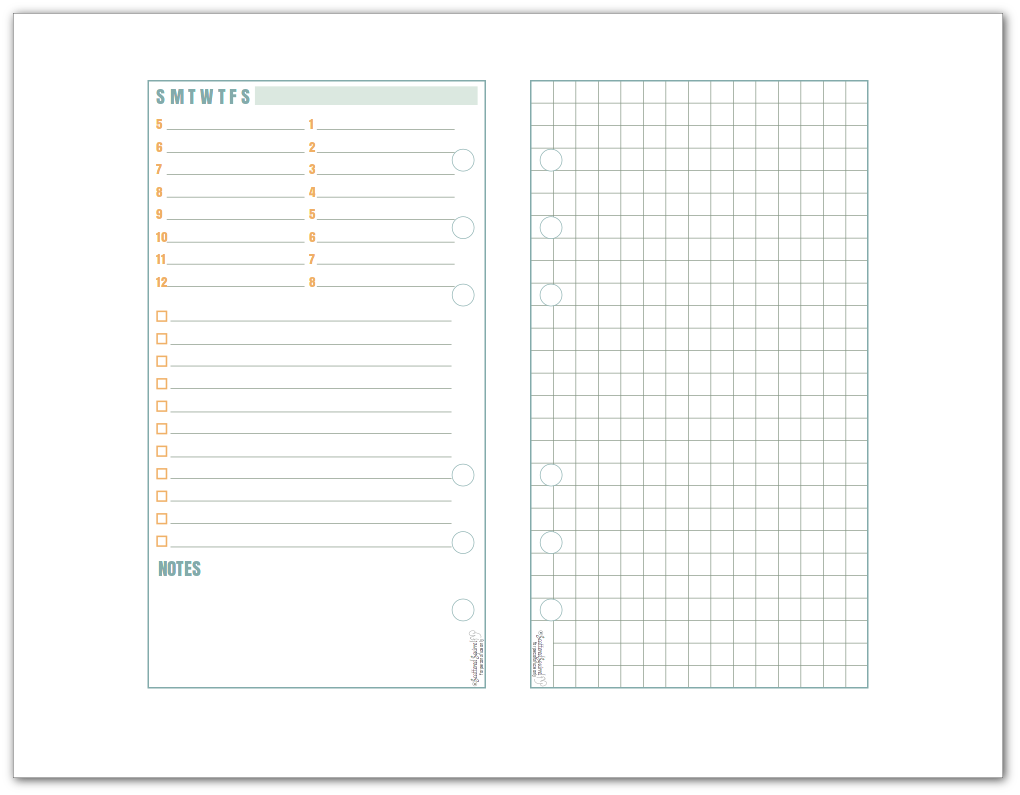 This Personal-Size Daily Planner Printable features single page on one page with graph paper on the other