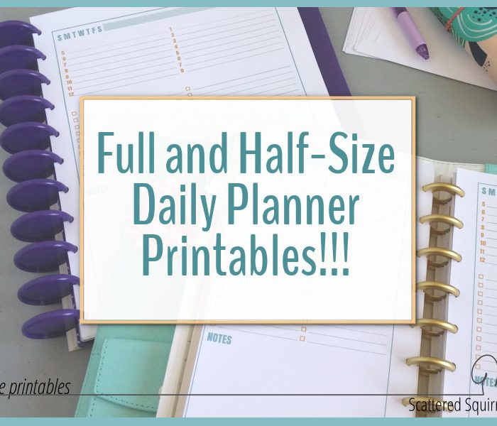 Full and Half-Size Daily Planner Printables as Requested