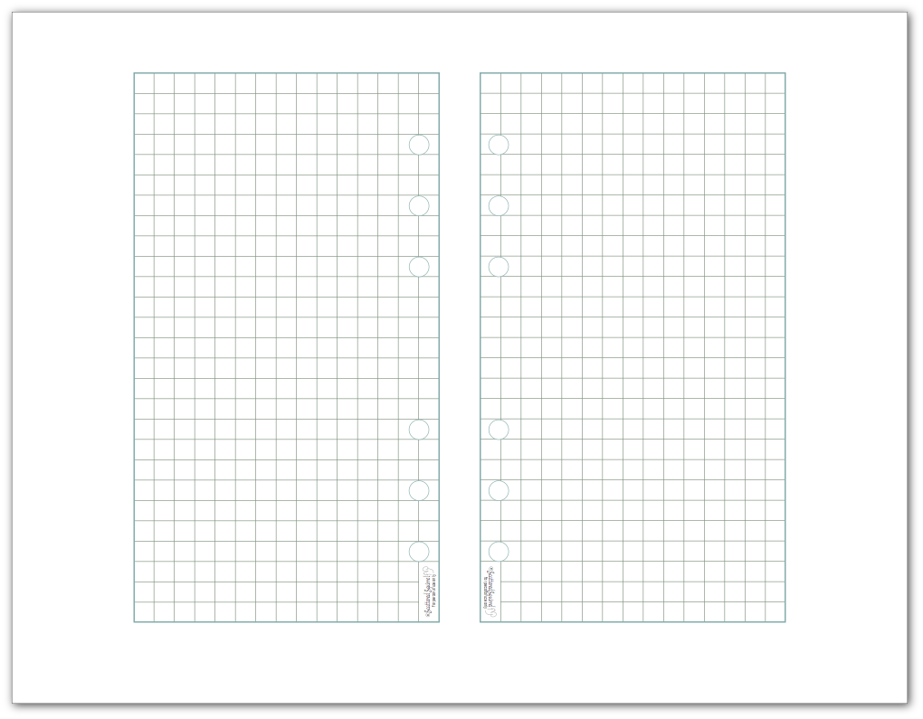 Graph paper printable designed to fit into personal size planners.