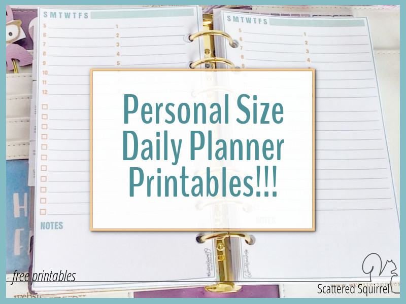 These personal size daily planner printables feature on day per page, either just the daily planners or mix and match with graph paper.