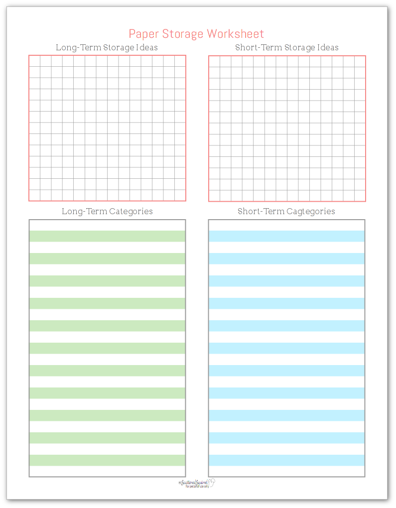 This paper storage work sheet was designed to help you brainstorm storage solutions and the categories you need for each kind of storage.