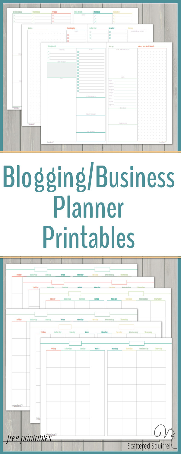 Introducing My New Blog Planner Printables Scattered Squirrel – Free Business Printables
