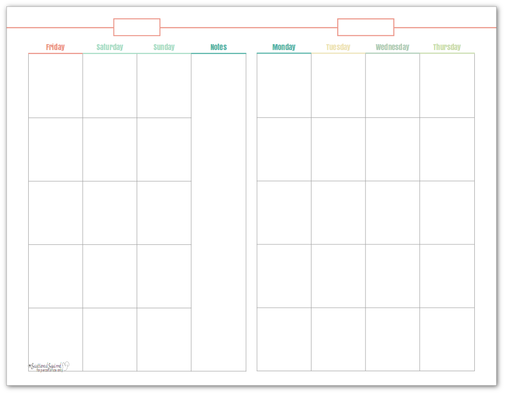 Half-size, undated monthly calendar, in coral. This printable makes a great option for planning content.
