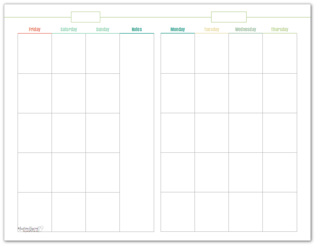 Half-size, undated monthly calendar, in green. This printable makes a great option for planning content.