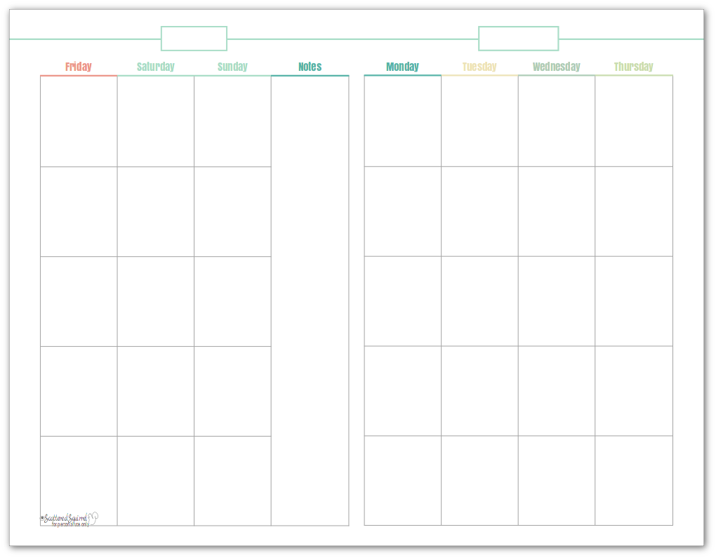 Half-size, undated monthly calendar, in mint. This printable makes a great option for planning content.
