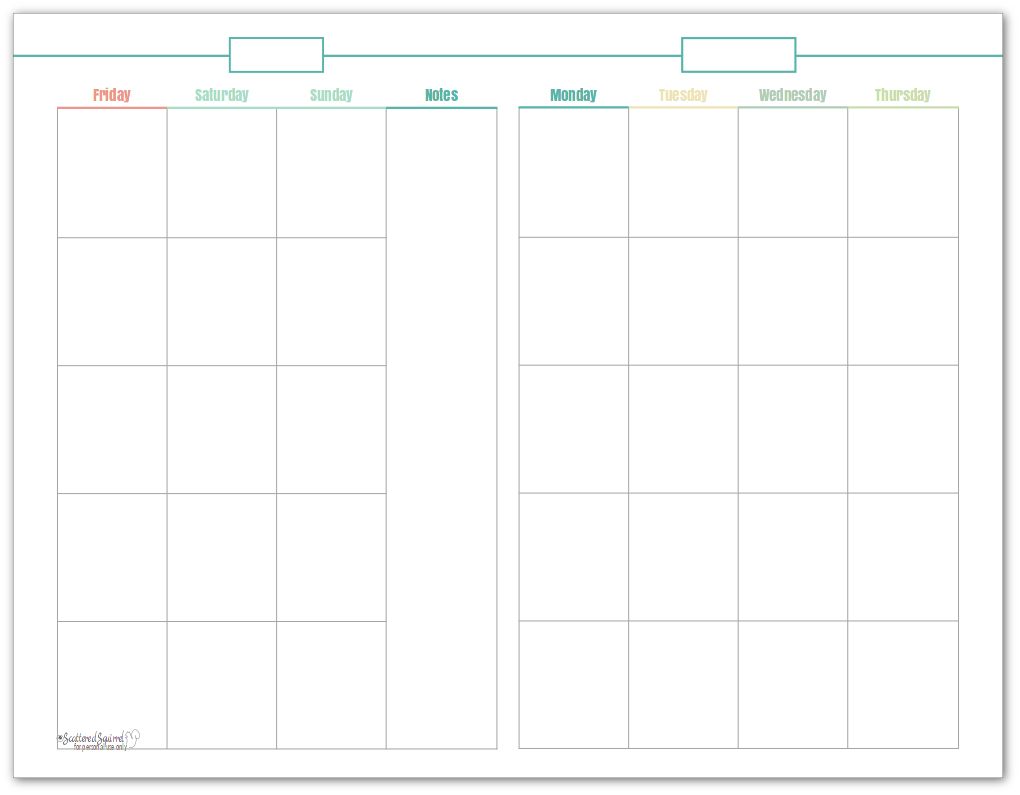 Half-size, undated monthly calendar, in turquoise. This printable makes a great option for planning content.