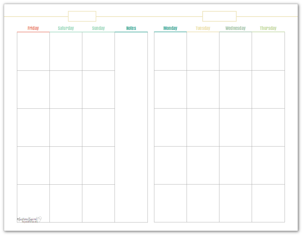 Half-size, undated monthly calendar, in yellow. This printable makes a great option for planning content.